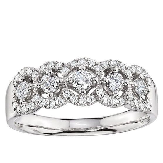 5-Stone Diamond Halo Ring 14K