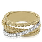 Two Tone Diamond Crossover Band 14K