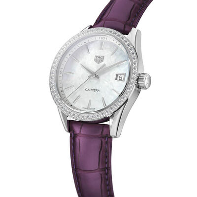 TAG Heuer Carrera Purple Strap Diamond Bezel Watch, 36mm