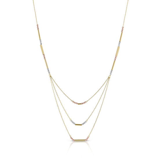 Toscano Triple Graduated Link / Station Necklace 14K