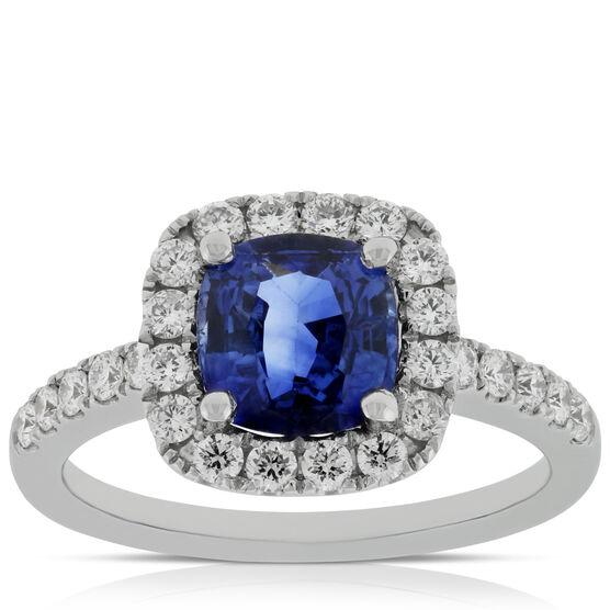 Cushion Sapphire & Diamond Ring 14K