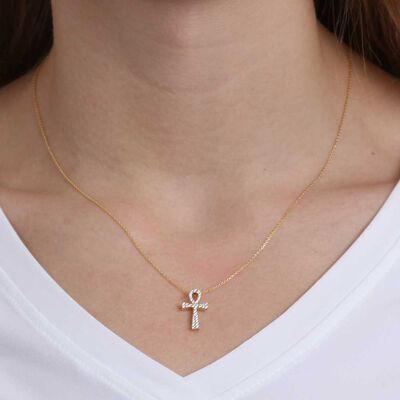 Diamond Ankh Necklace 14K