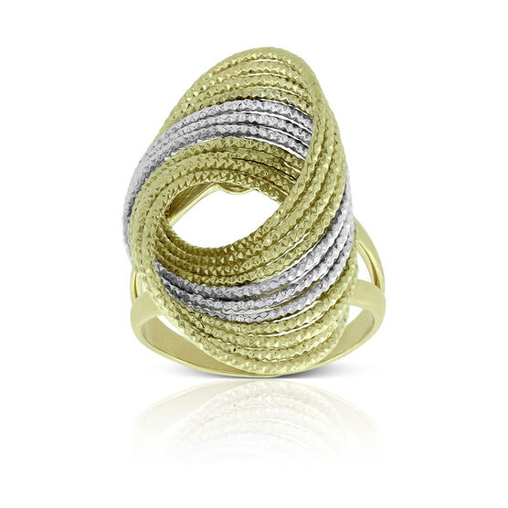 Toscano Diamond Cut Twisted Wire Ring 14K