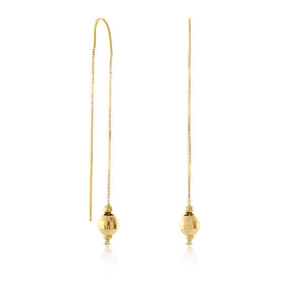 Faceted Ball Threader Dangle Earrings 14K
