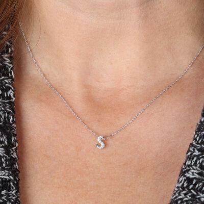 "Diamond ""S"" Initial Pendant 14K"