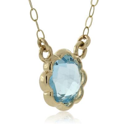 Scalloped Bezel Blue Topaz Necklace 14K