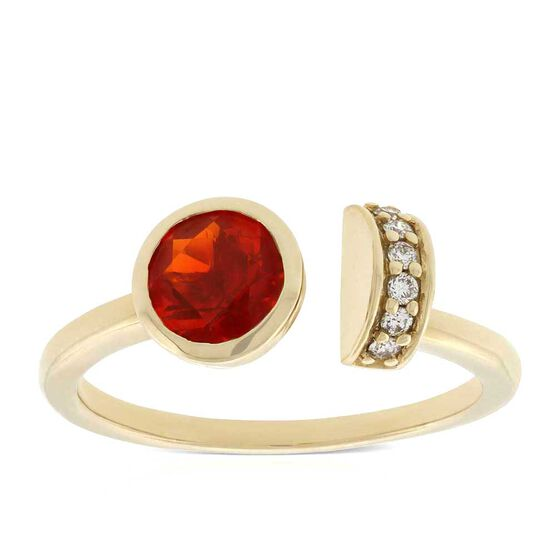 Fire Opal & Diamond Open Shank Ring 14K