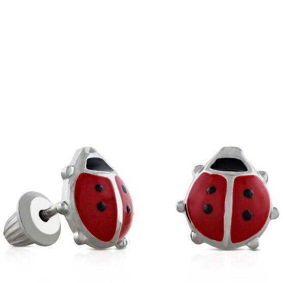 Baby Ladybug Earrings in Silver