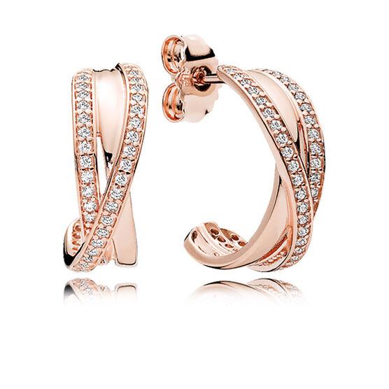 Pandora Earrings Hoops: PANDORA Rose™ Entwined Hoop CZ Earrings - 280730CZ