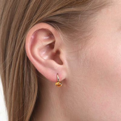 Cabochon Citrine Earrings 14K