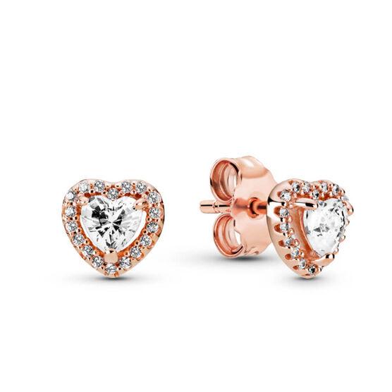 Pandora Rose™ Sparkling Elevated Heart CZ Stud Earrings