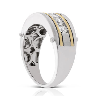 Men's Two-Tone Diamond Ring 14K