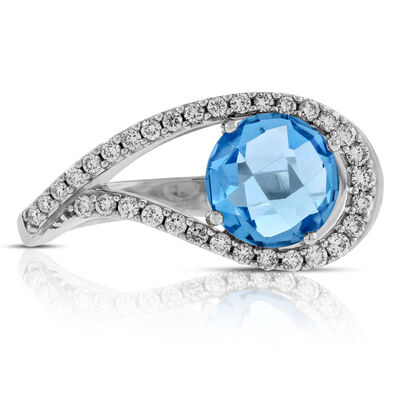 Blue Topaz & Diamond Swirl Ring 14K
