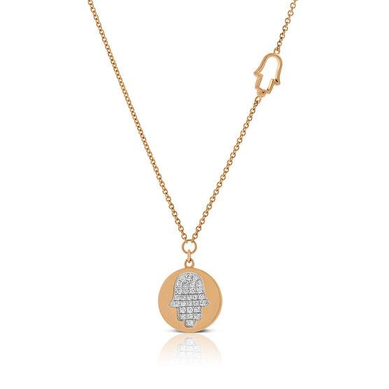 Rose Gold Hamsa Hand Diamond Pavé  Necklace 14K