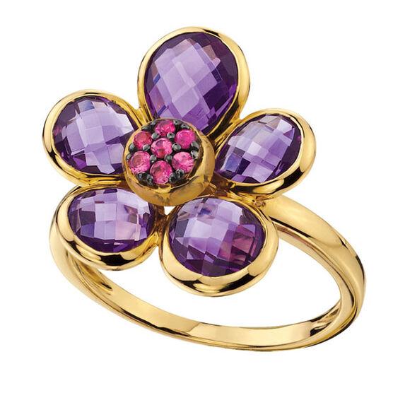 Amethyst Flower Ring 14K