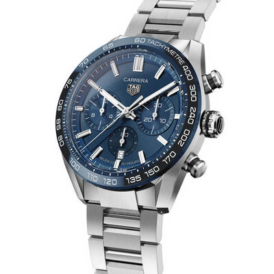 TAG Heuer Carrera Heuer 02 Blue Dial & Bezel Chronograph Watch, 44mm