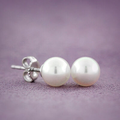 Mikimoto Akoya Cultured Pearl Earrings 7mm, A, 18K