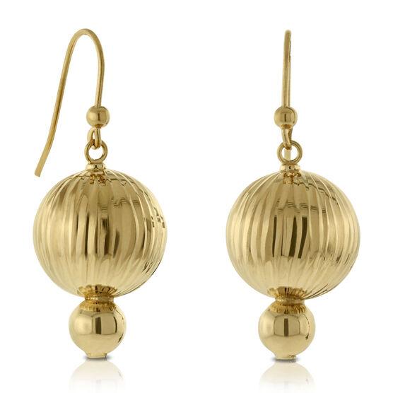 Double Bead Earrings 14K