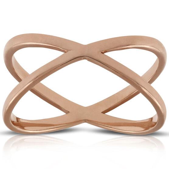 Rose Gold Crossover Ring 14K