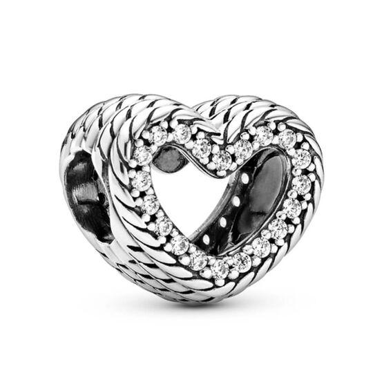 Pandora Snake Chain Pattern Open Heart Charm