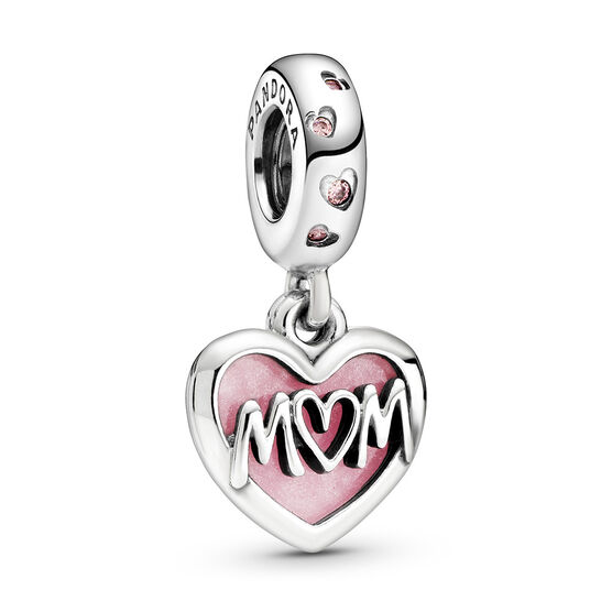 Pandora Mom Script Heart Enamel & CZ Dangle Charm