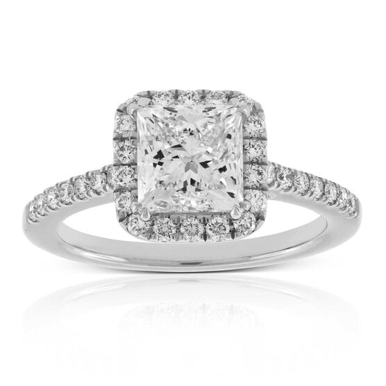 Princess Cut Diamond Halo Engagement Ring, 2.01 Ct. Center, 18K