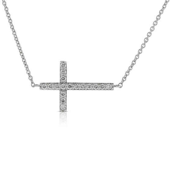 Diamond Sideways Cross  14K