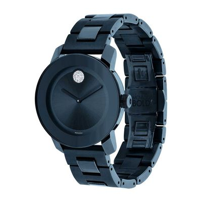 Movado Bold Blue Ion & Crystal Watch