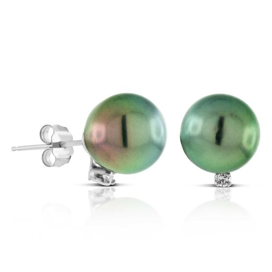 Cultured South Sea Tahitian Pearl & Diamond Earrings 14K