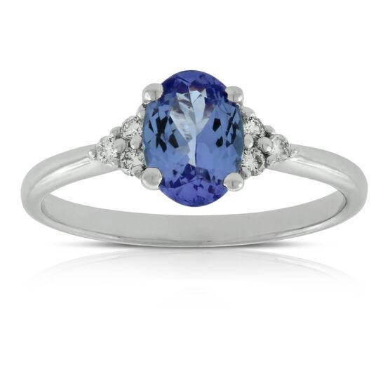 Oval Tanzanite & Diamond Ring 14K