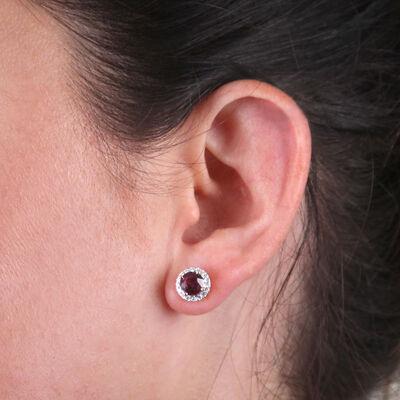 Rose Gold Rose Zircon & Diamond Halo Earrings 14K