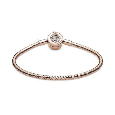 Pandora Rose™ Moments Sparkling CZ Crown O Snake Chain Bracelet