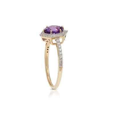 Amethyst & Diamond Hexagon Halo Ring 14K