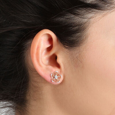 Floral Diamond Earrings 14K