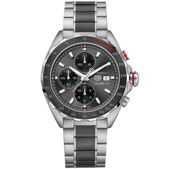 TAG Heuer Formula 1 Calibre 16 Automatic Mens Grey Steel Black Ceramic Chronograph Watch
