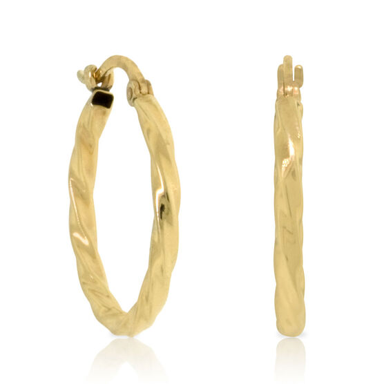 Twisted Hoop Earrings 14K