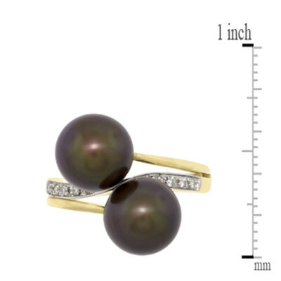 Dyed Freshwater Cultured Pearl & Diamond Ring 14K