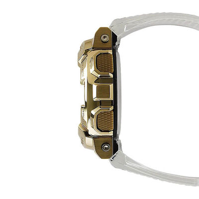 G-Shock Transparent Strap Gold IP Steel Bezel Watch, 51.9mm
