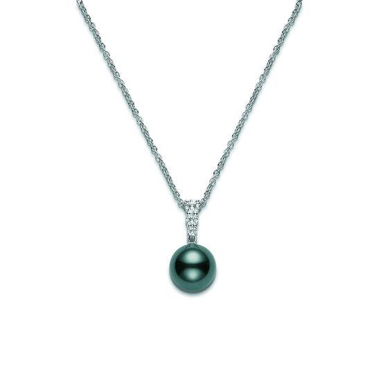 Mikimoto Black South Sea Cultured Pearl & Diamond Pendant, 10mm, A+, 18K