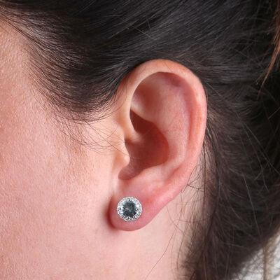 Aquamarine & Diamond Halo Earrings 14K