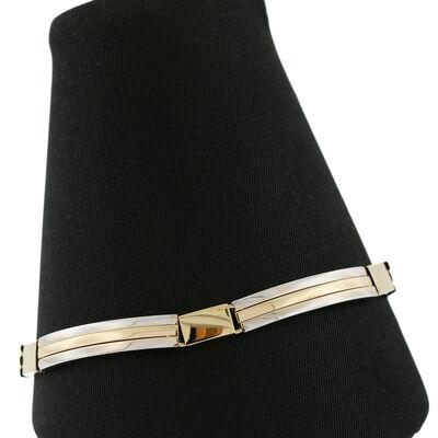 """Toscano Two-Tone Bar Link Bracelet 18K, 8"""""""
