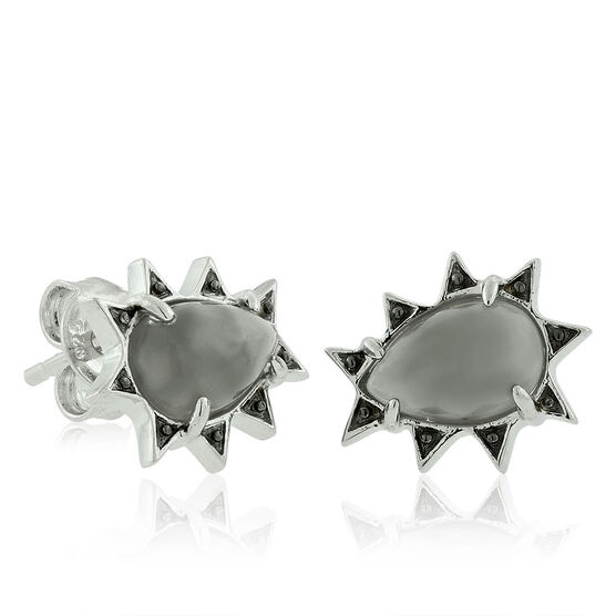 Lisa Bridge Grey Moonstone & Black Sapphire Earrings