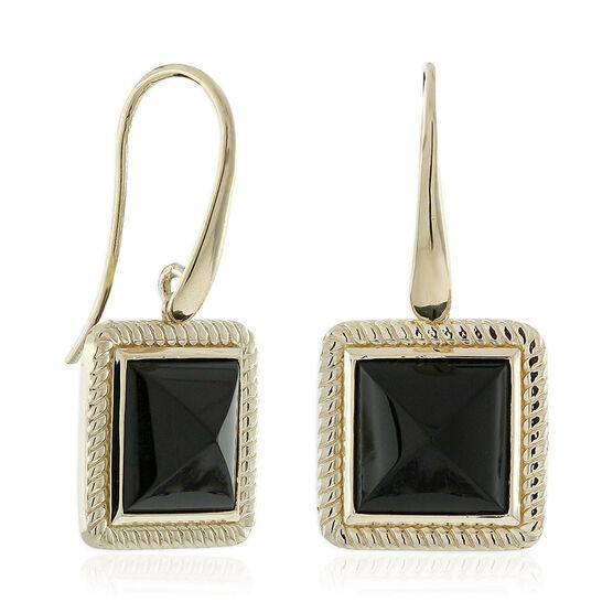 Black Onyx Pyramid Rope Bezel Set Earrings 14K