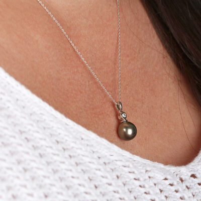 Cultured South Sea Tahitian Pearl & Diamond Pendant 14K
