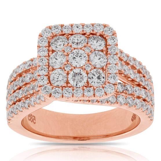 Rose Gold Halo Diamond Ring 14K