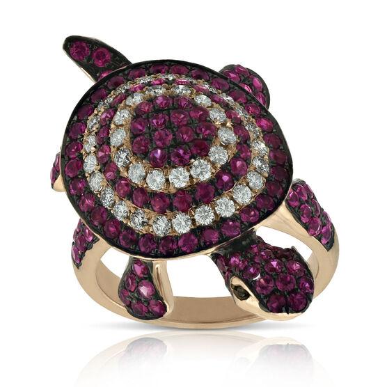 Ruby & Diamond Turtle Ring 14K