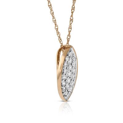 Rose Gold Pavé Diamond Necklace 14K