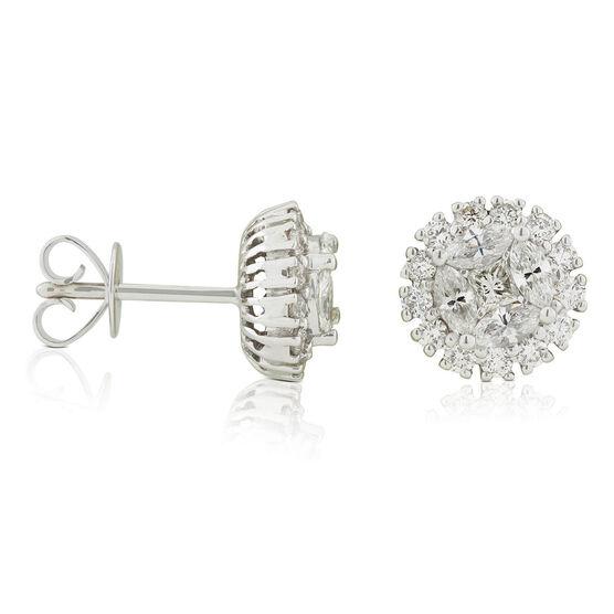 Fancy Diamond Cluster Halo Stud Earrings 14K