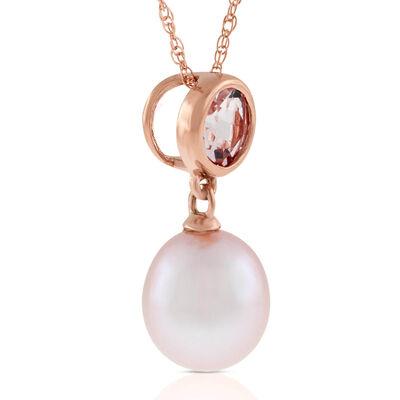 Rose Gold Freshwater Cultured Pearl & Morganite Pendant 14K