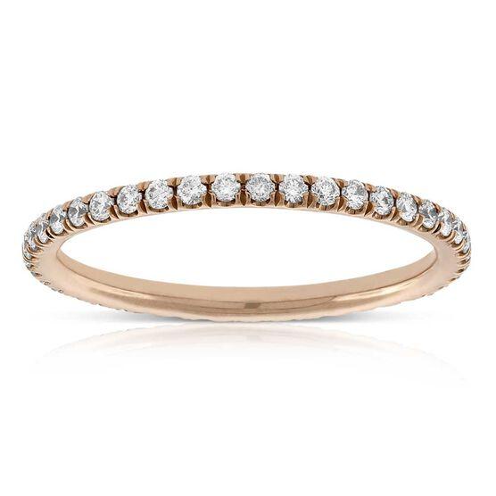 Rose Gold Diamond Eternity Band 14K, Size 6